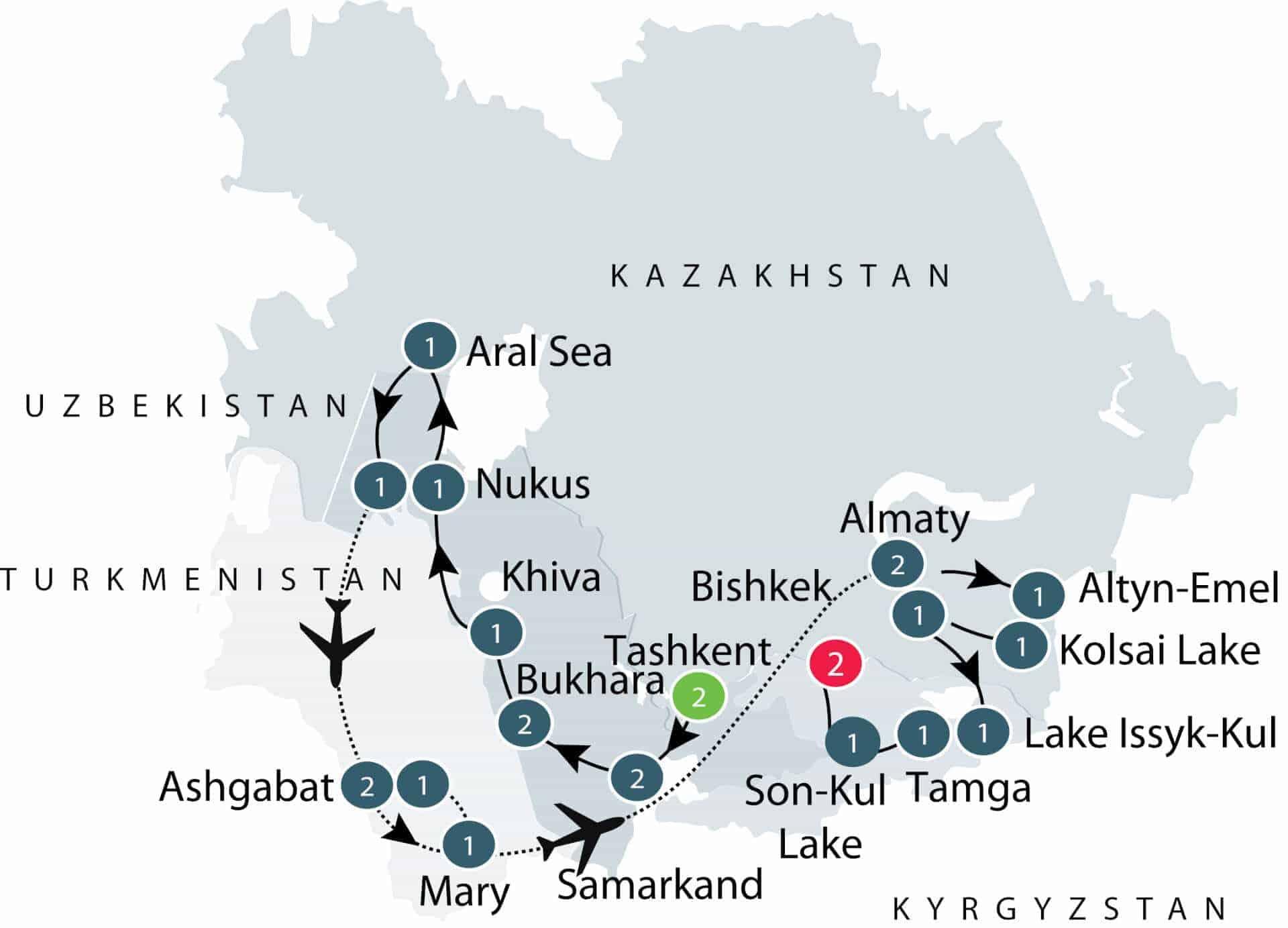 Map of Odyssey to the Stans, Turkmenistan, Uzbekistan, Kazakhstan, Kyrgyzstan