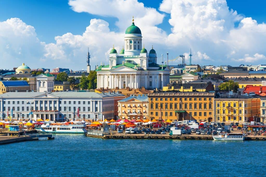 Scenic summer panorama of the Market Square (Kauppatori) at the Old Town pier in Helsinki, Finland