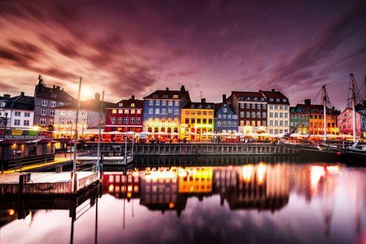 Copenhagen canal with boats Denmark