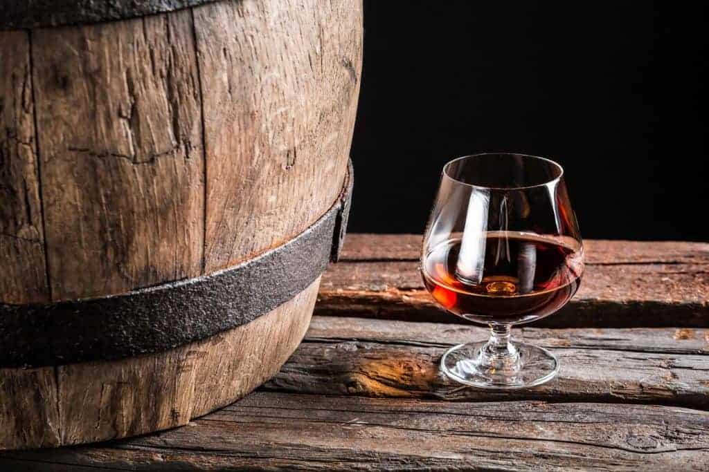 Brandy glass and barrell