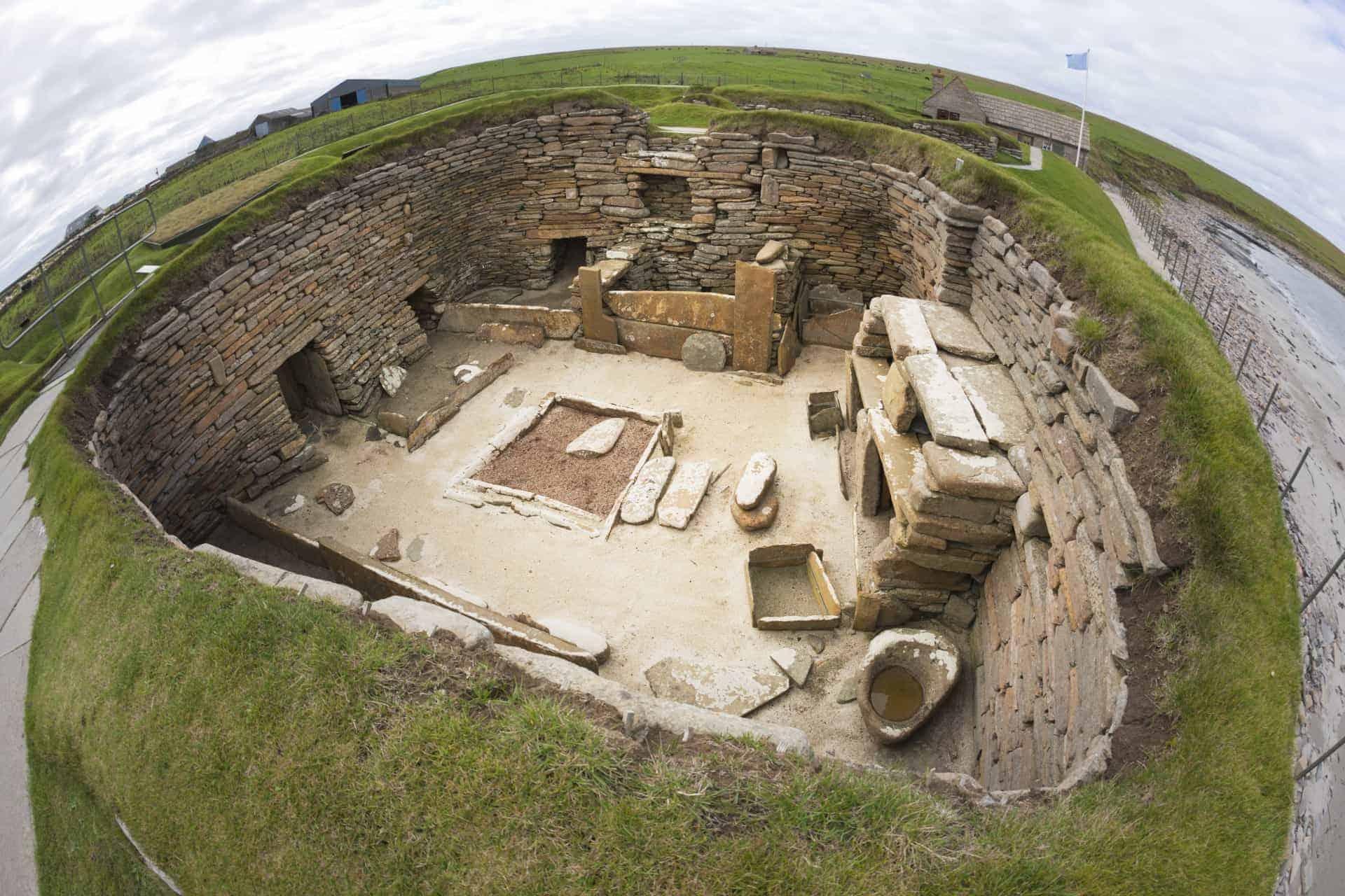 Scotland History: A house at Skara Brae, Orkney