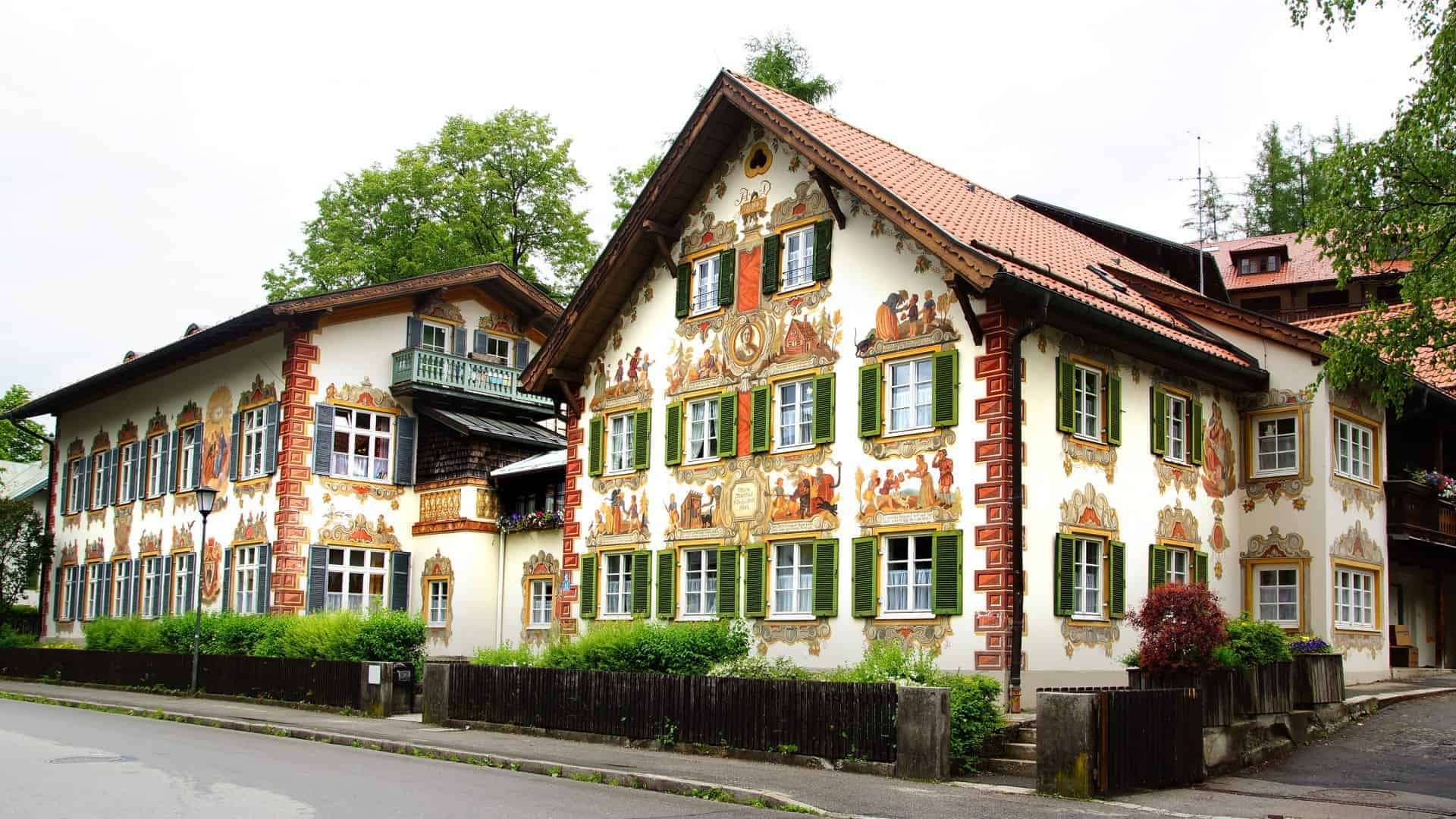 A fairy tale house, patterned with a detailed fresco, in Oberammergau