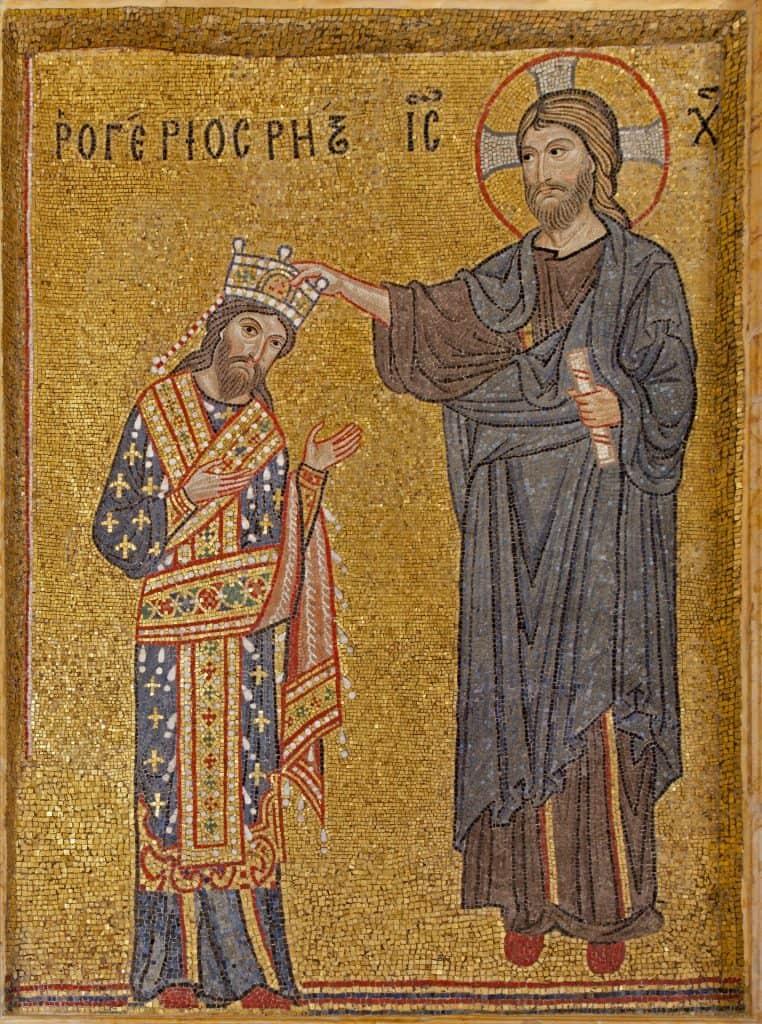 Mosaic of King and Christ crowned at La Martorana, Sicily