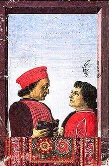 Federico with humanist writer Cristoforo Landino
