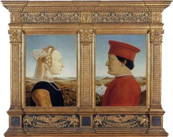 Frederico and his second wife, Battista Sforza