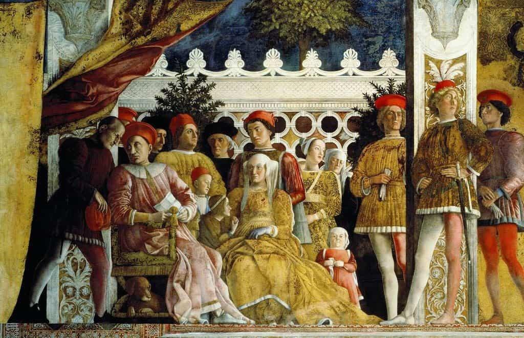 Ludovico (seated) and the court at Mantua, Andrea Mantegna.