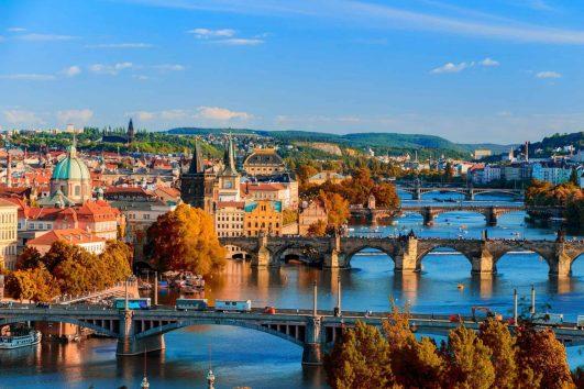 Prague bridges river