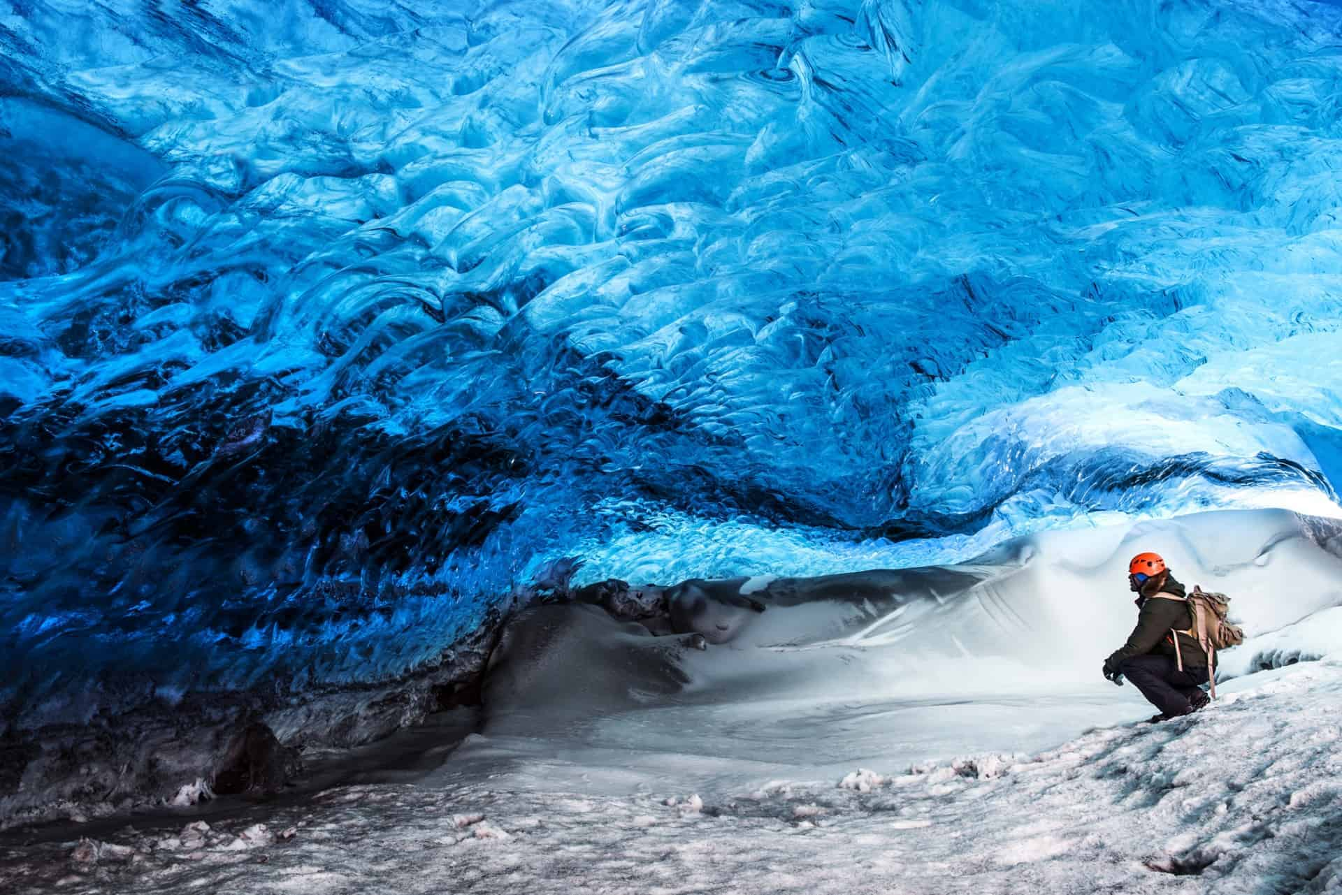 Iceland glacier ice cave