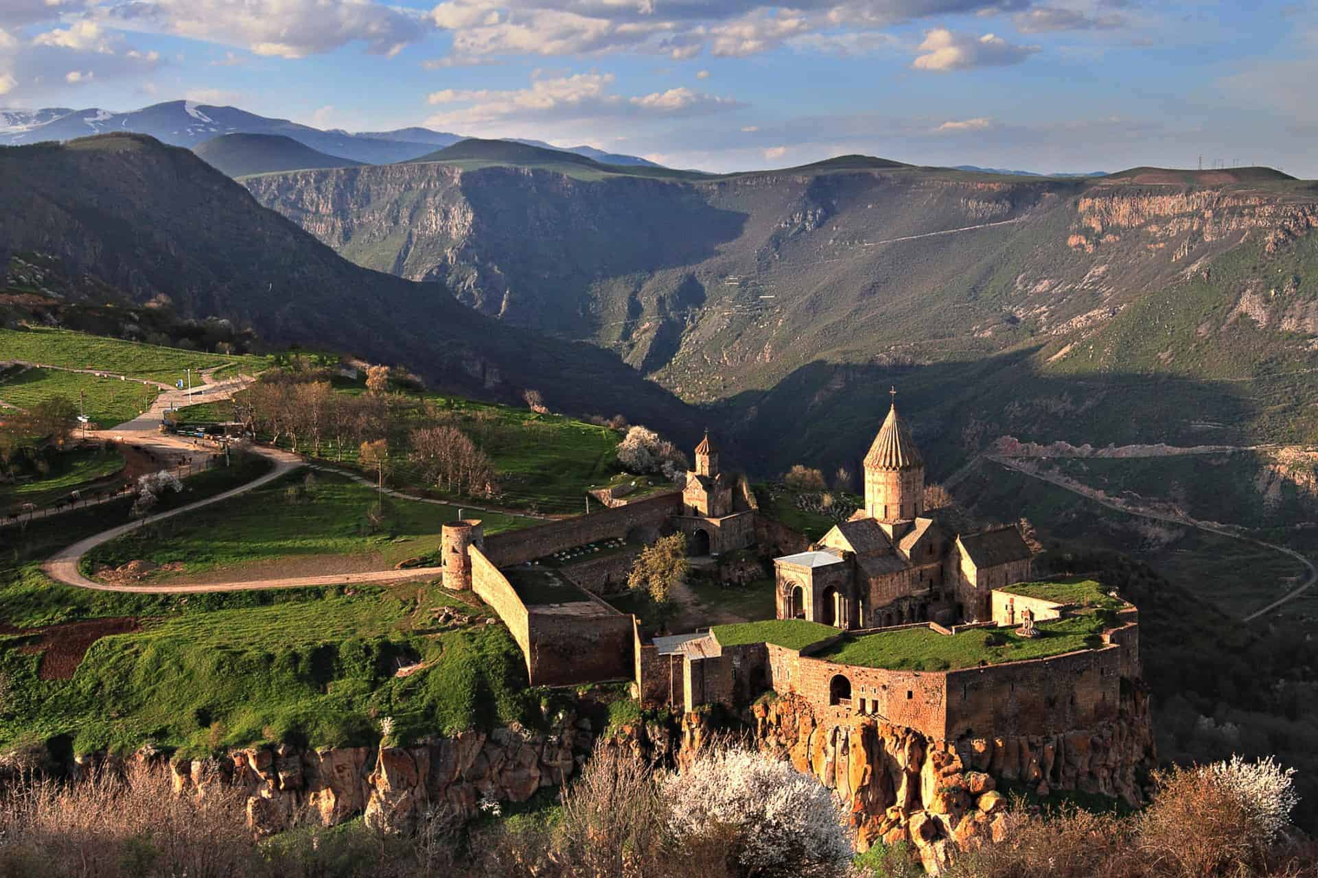 View over the Armenian religious complex of Tatev, near the city of Goris