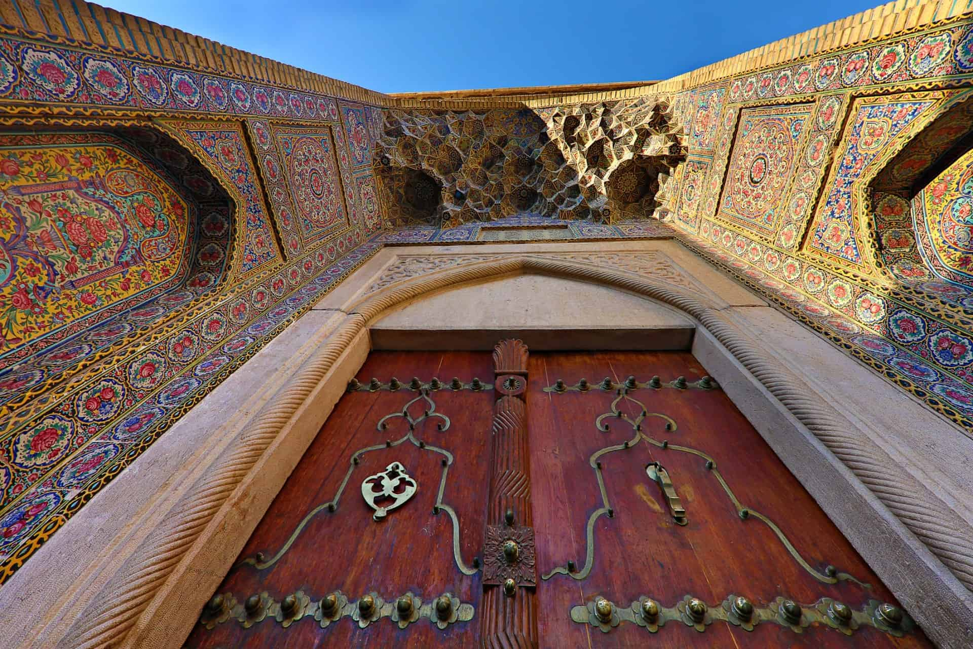 Door and gate of the Pink Mosque in Shiraz, Iran, known also as Nasiralmulk Mosque.
