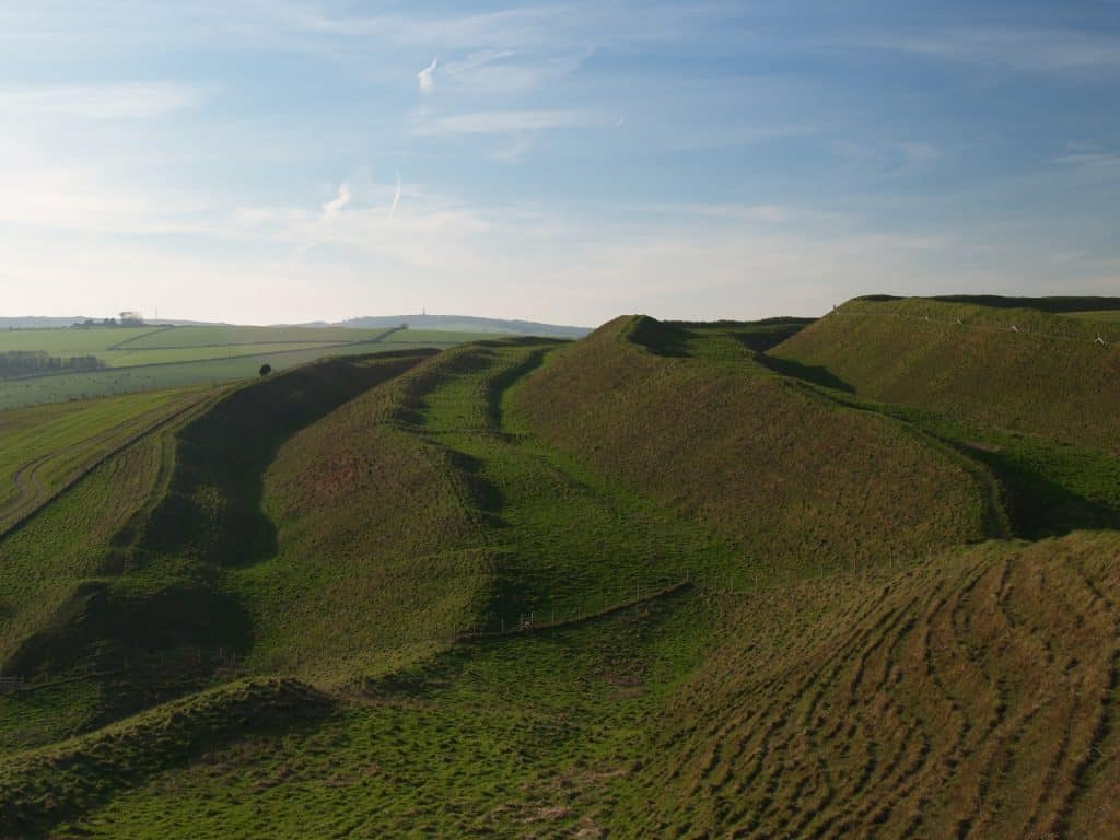 Iron age hill fort Maiden Castle Dorset
