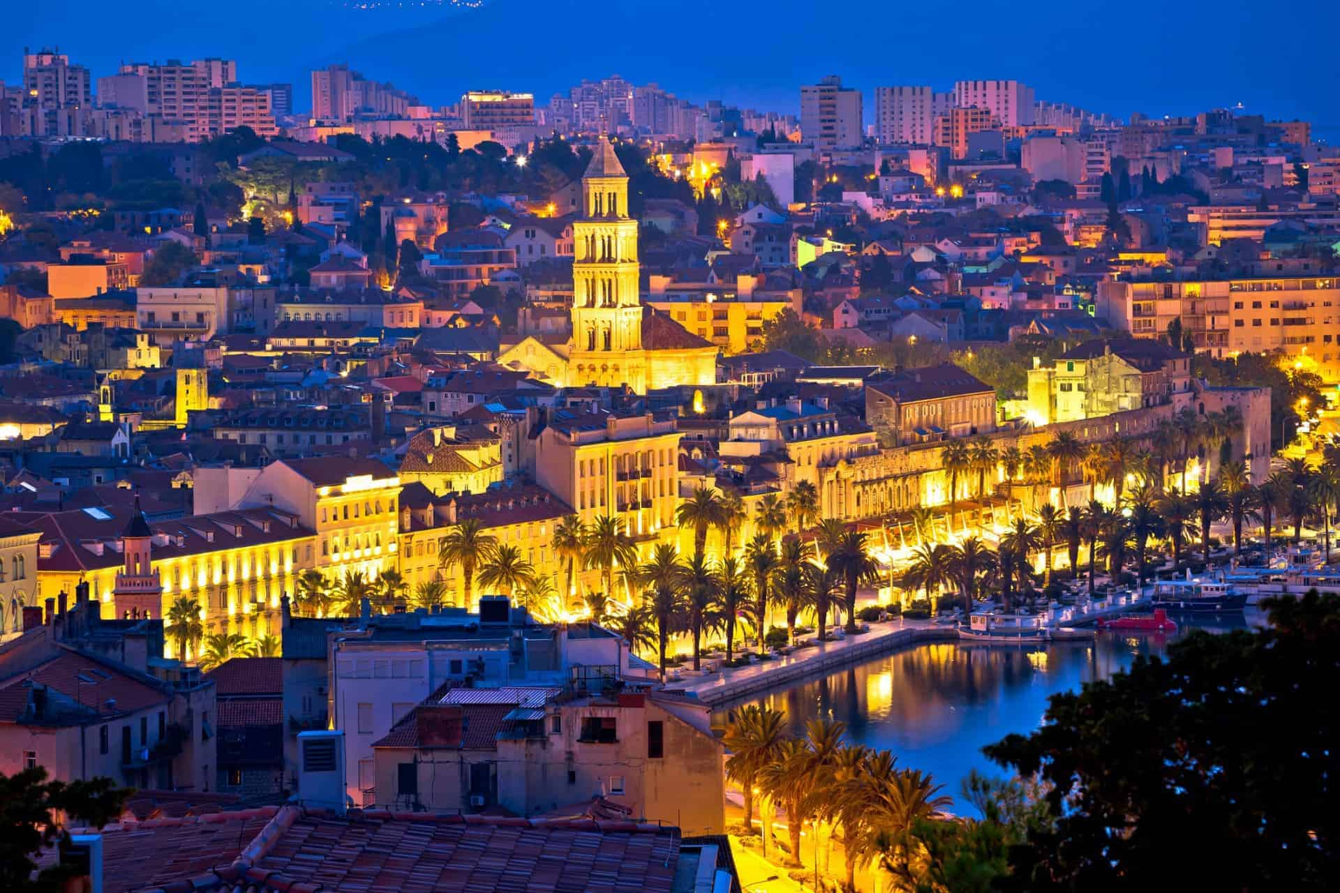 The city of Split, Croatia at dawn, with an aerial view of Diocletian's Palace