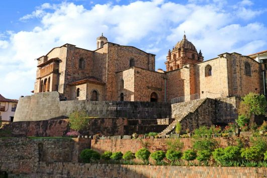 The Temple of the Sun of the Incas or Coricancha with the Convent of Santo Domingo Church above, Cusco, Peru