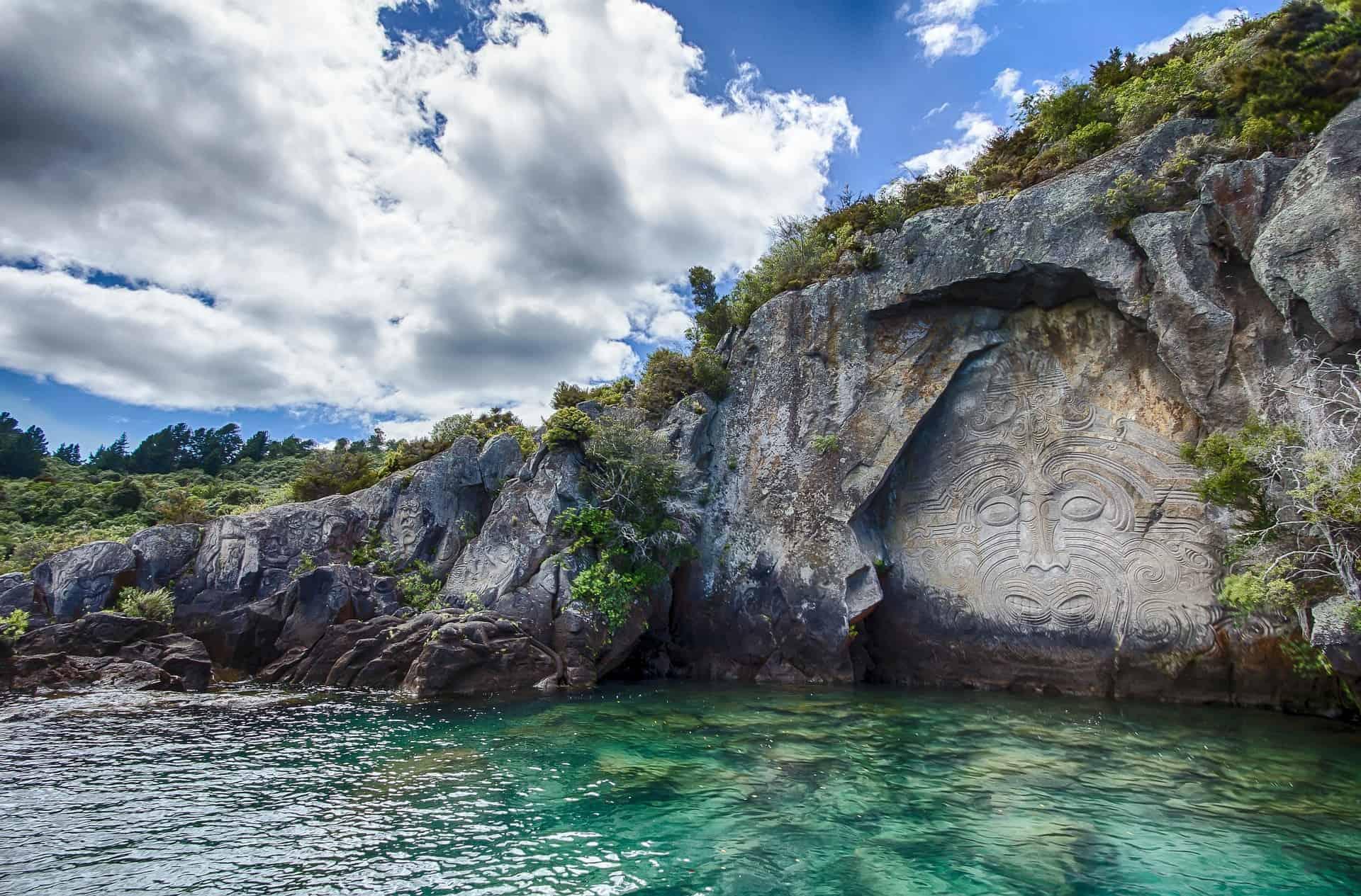 Maori Carving on Lake Taupo, New Zealand