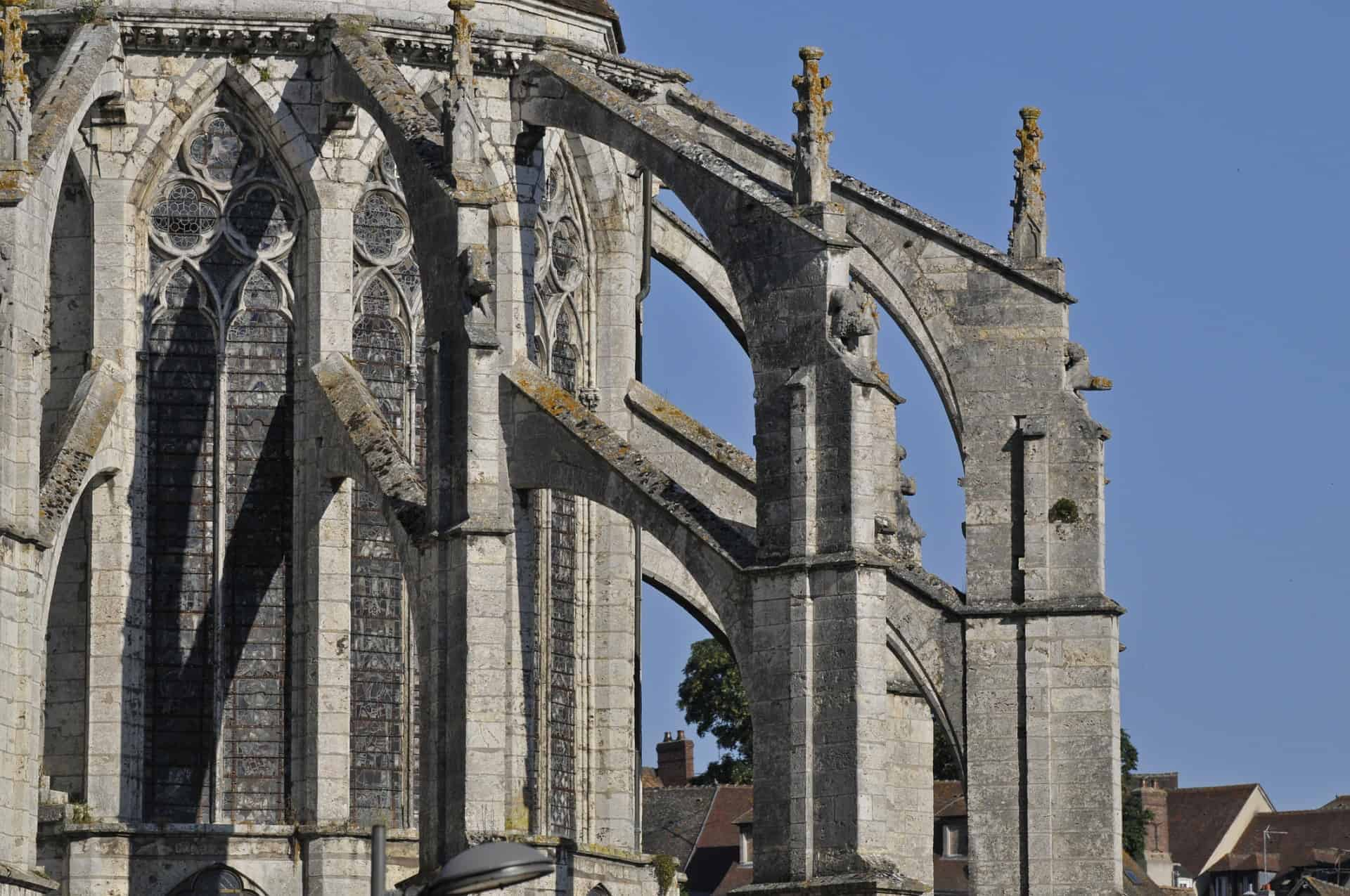 Flying buttresses on a Gothic building