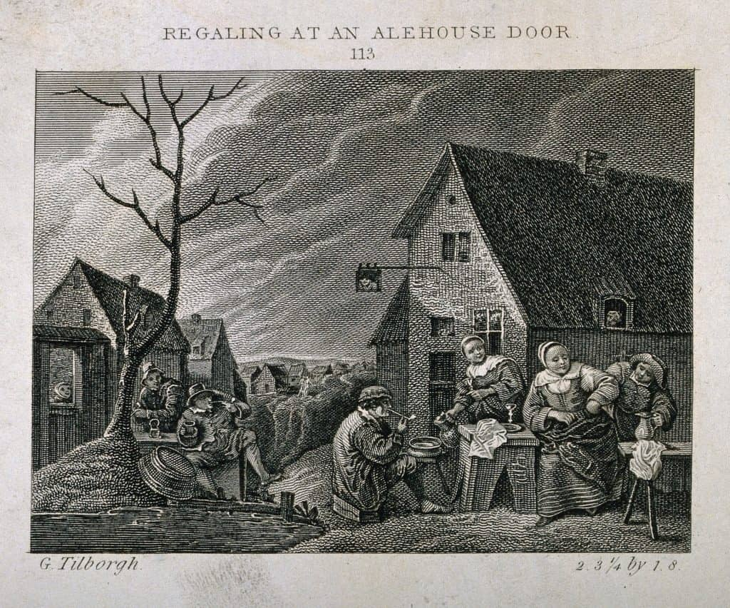 Men and women smoking and drinking outside an alehouse