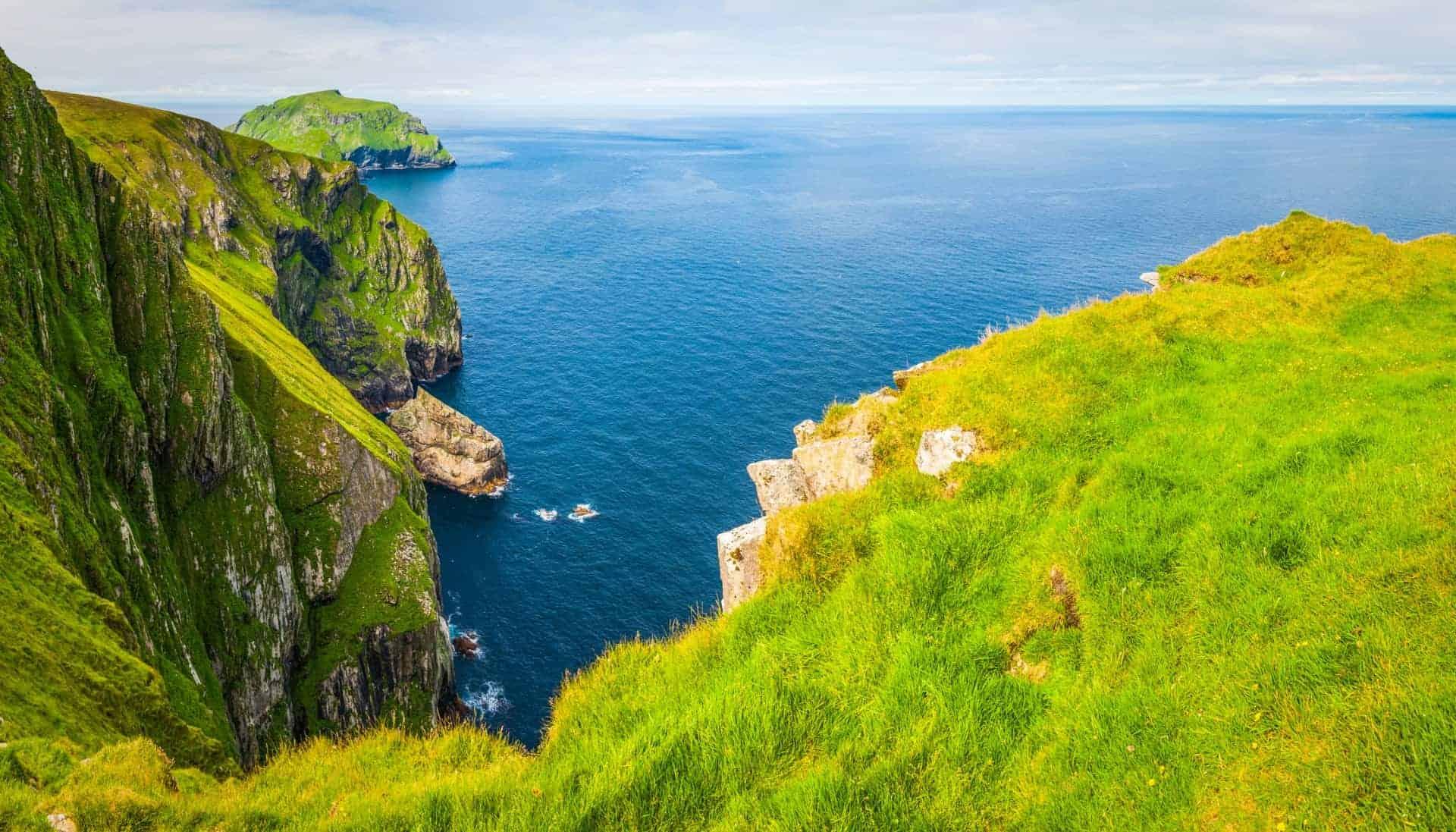 Dramatic sea cliffs St Kilda Outer Hebrides