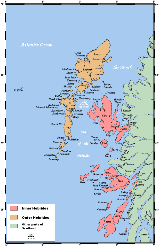 Map of the Outer Hebrides or Western Isles