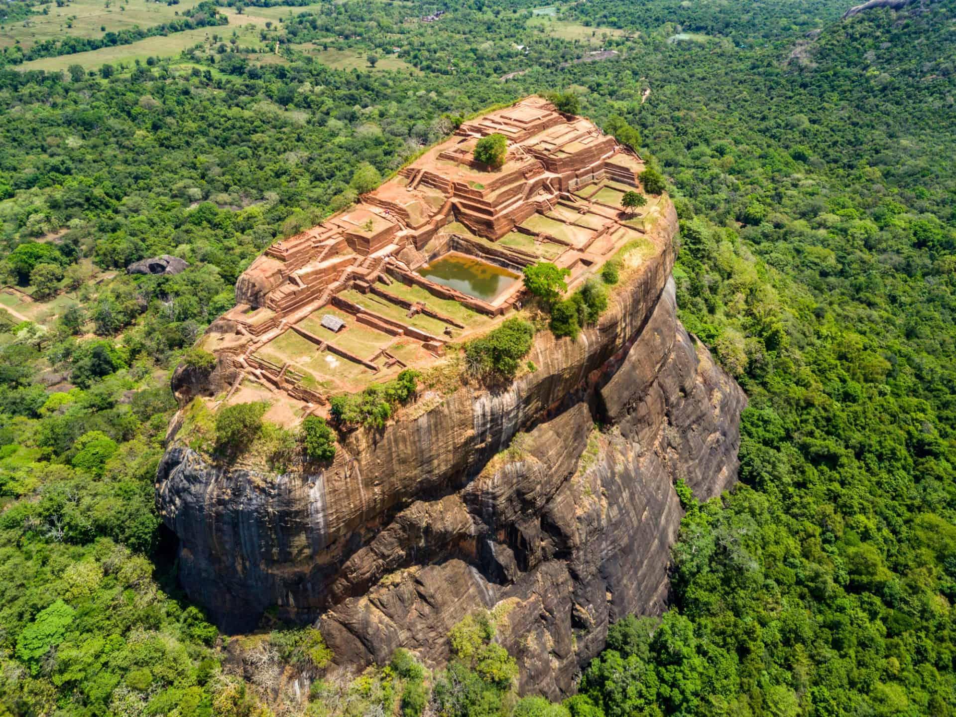 Aerial View of the Sigiriya Rock Fortress in Sri Lanka