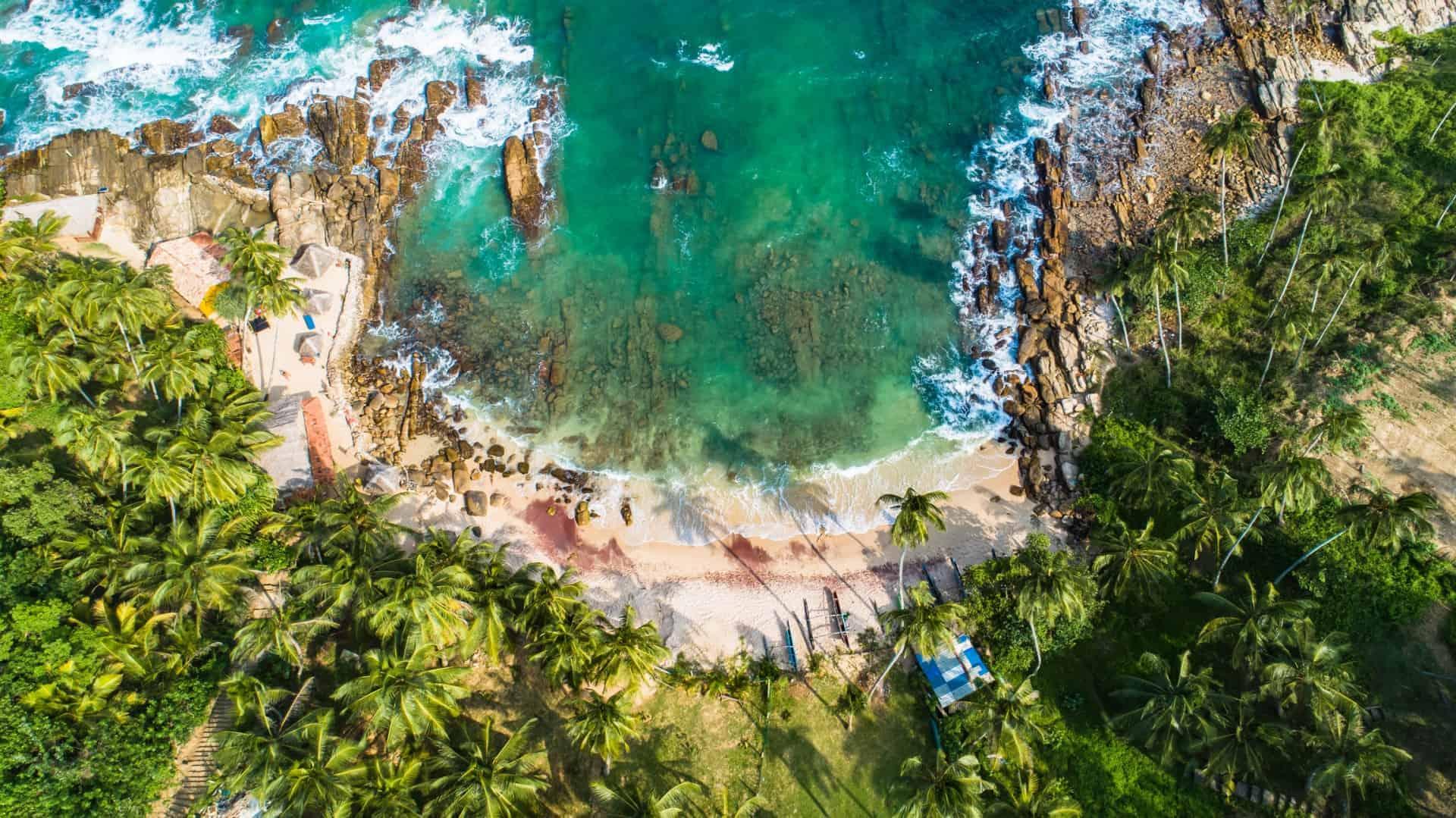 Aerial view of Goyambokka Beach, Sri Lanka