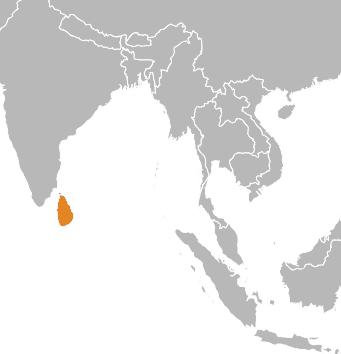 Sri Lanka's place on a world map