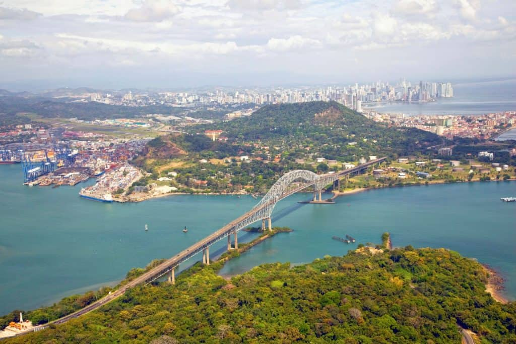 Bridge of the Americas at Panama Canal Pacific entrance Panama