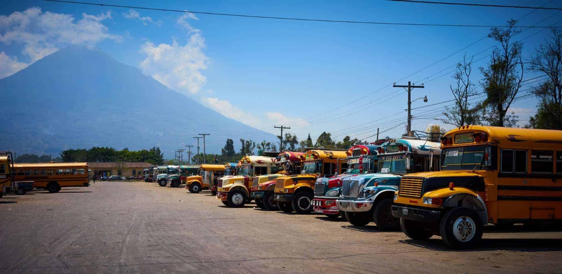 Colourful chicken buses in Antigua Guatemala