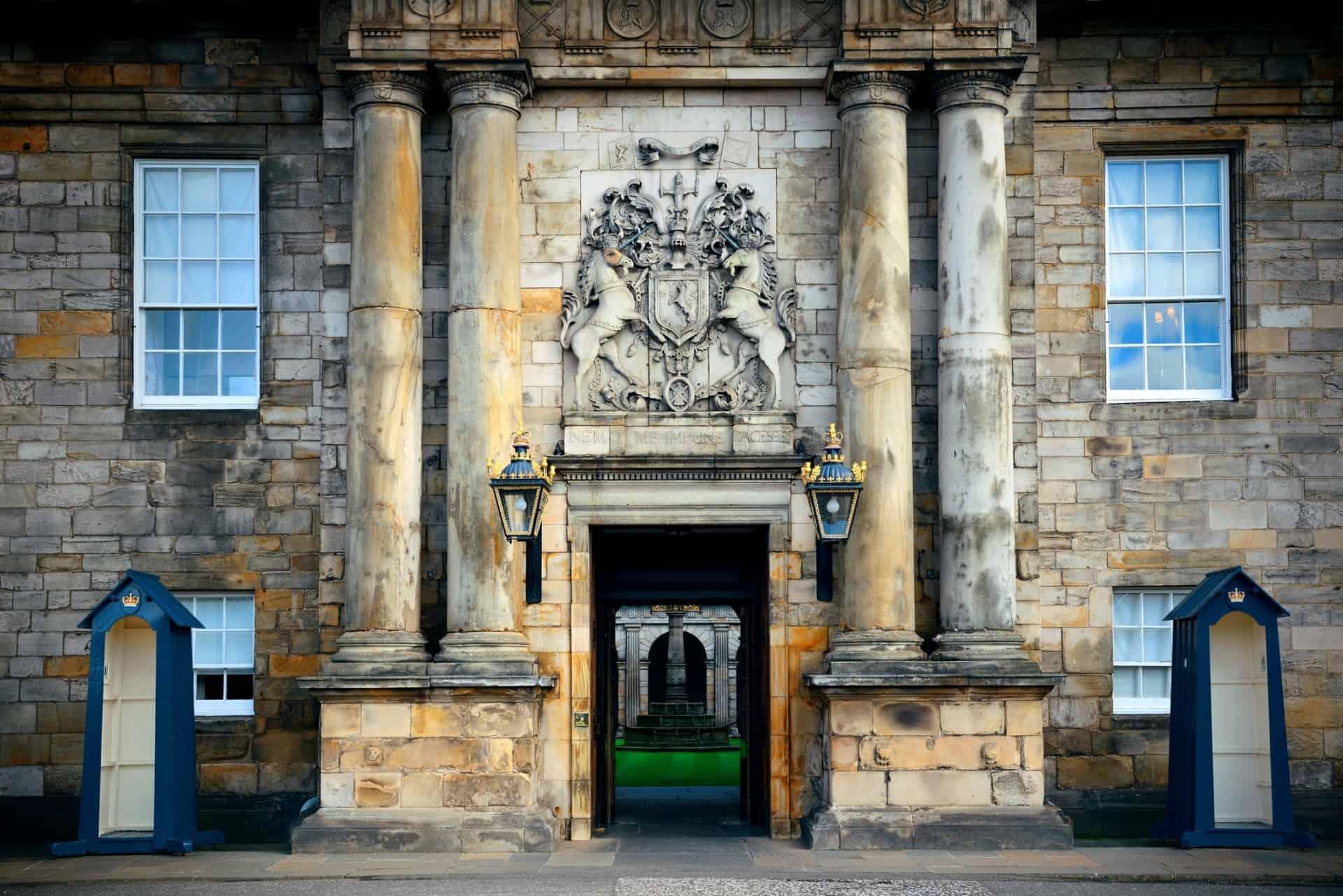 Unicorns at the entrance of Holyroodhouse Scotland