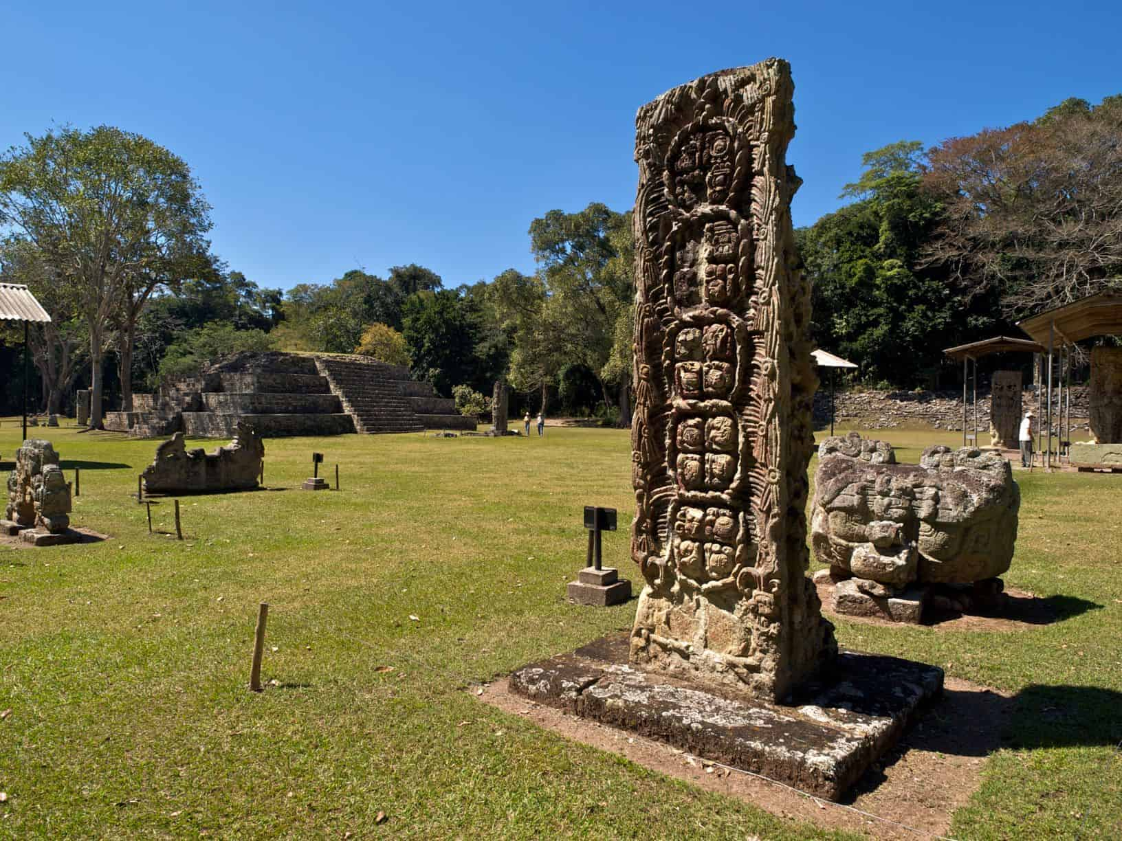 View of the Mayan ruins in Copan Honduras