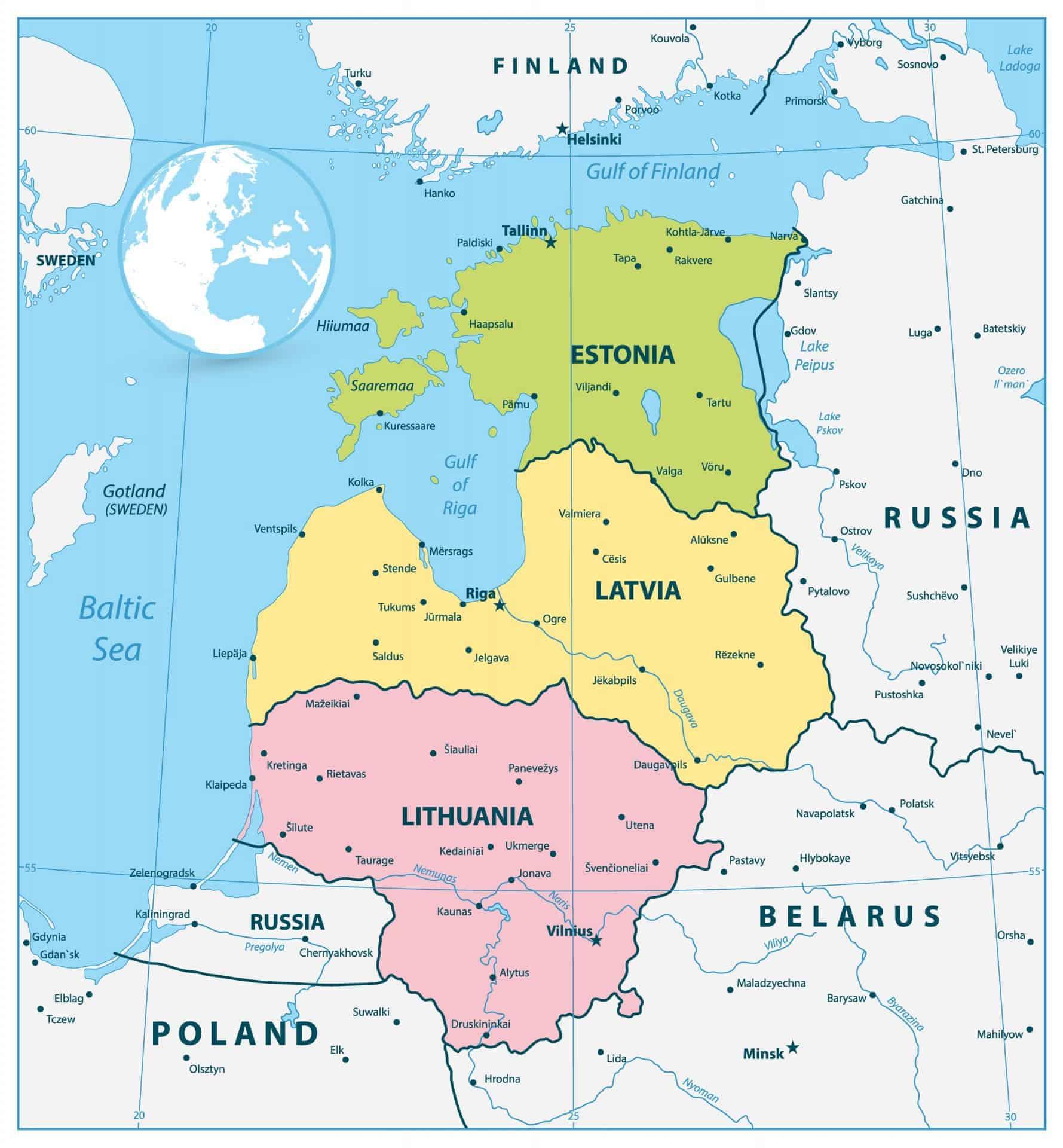 Map of the Baltics