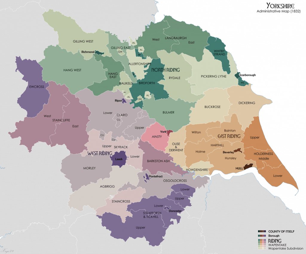 Yorkshire Administrative Map (1832)