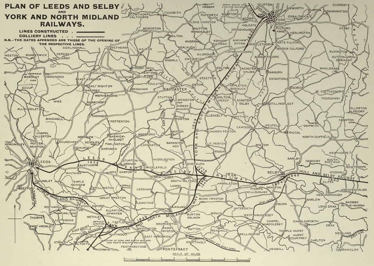 Leeds and Selby, York and North Midland railway maps