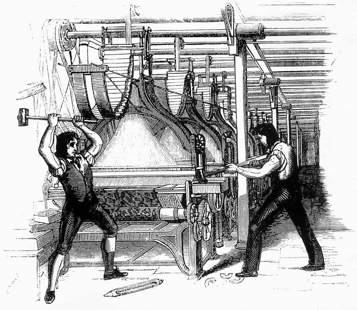Luddites smashing a loom