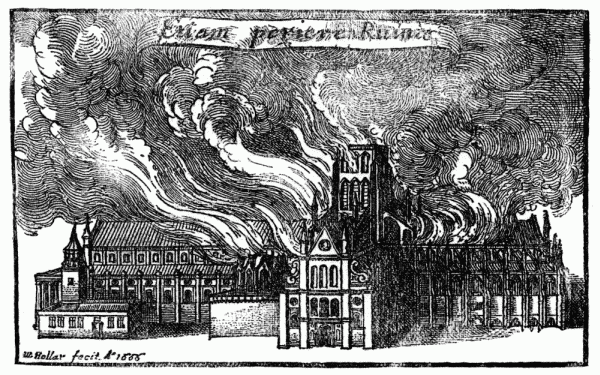 Old St Paul's - in flames