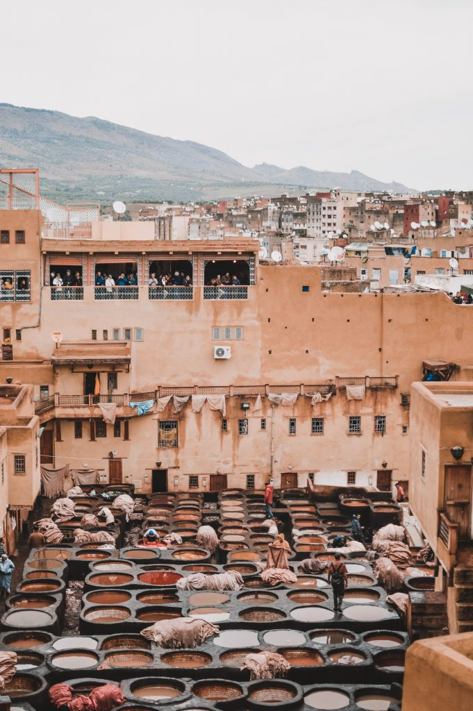 An image of the tanneries in Fez, Morocco