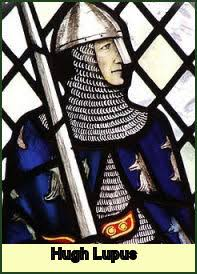A stained glass depiction of Earl Hugh
