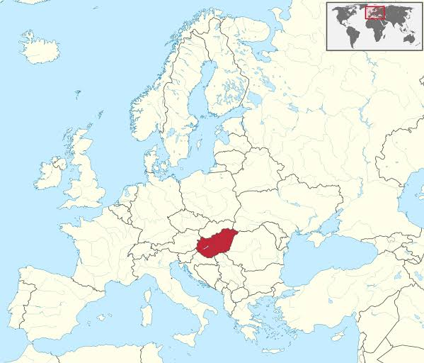 A map of Hungary's position in Europe