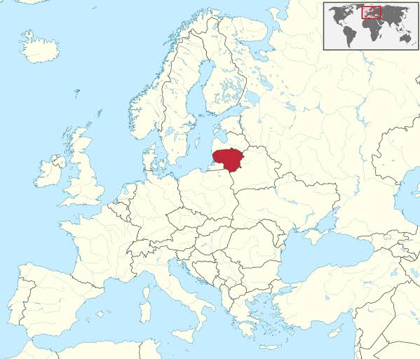 Map showing Lithuania's location in Europe
