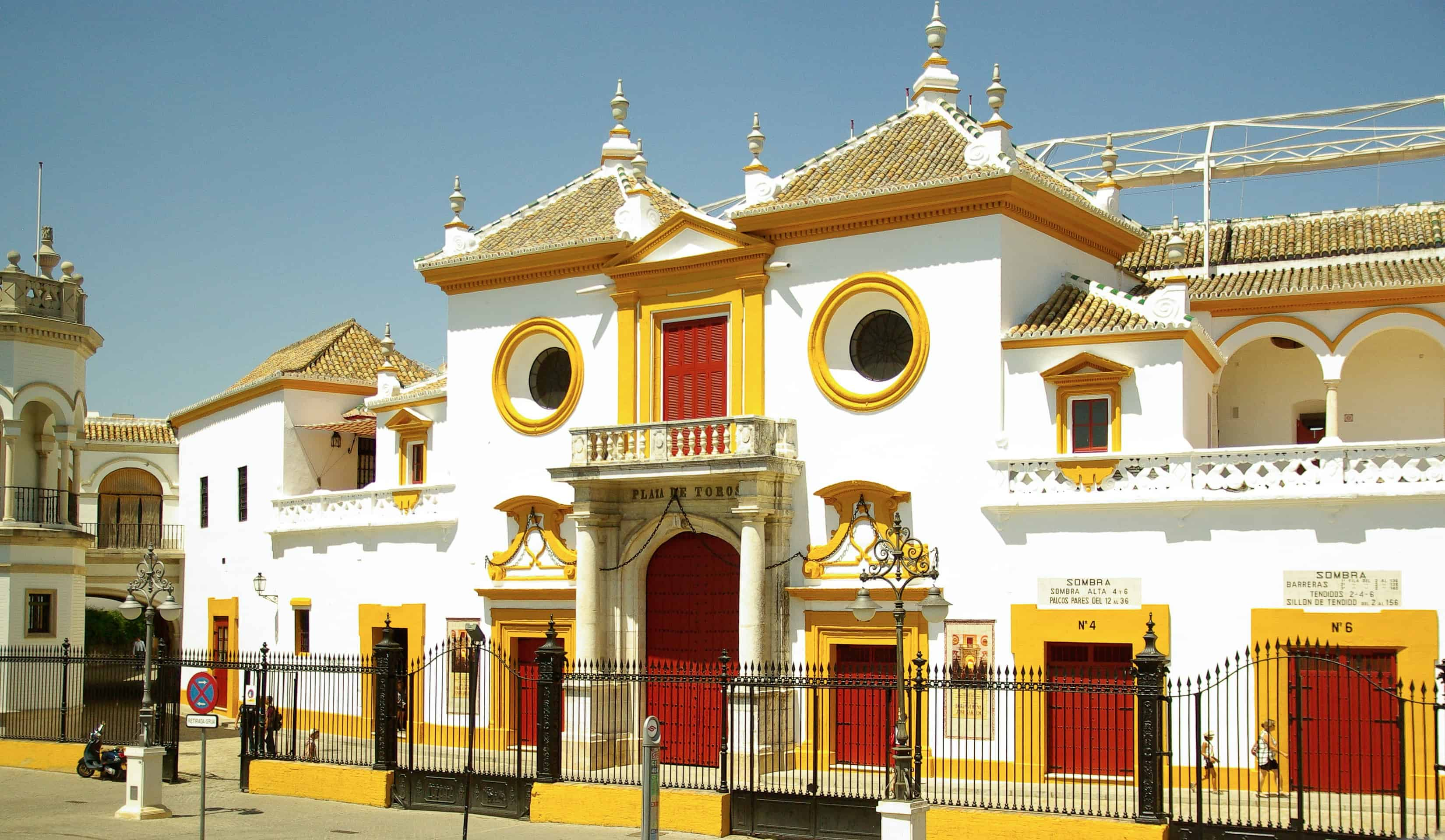 External view of the bullring in Seville, Spain