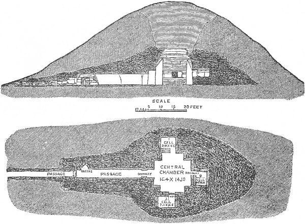 A diagram of the passage tomb within the mound at Maeshowe