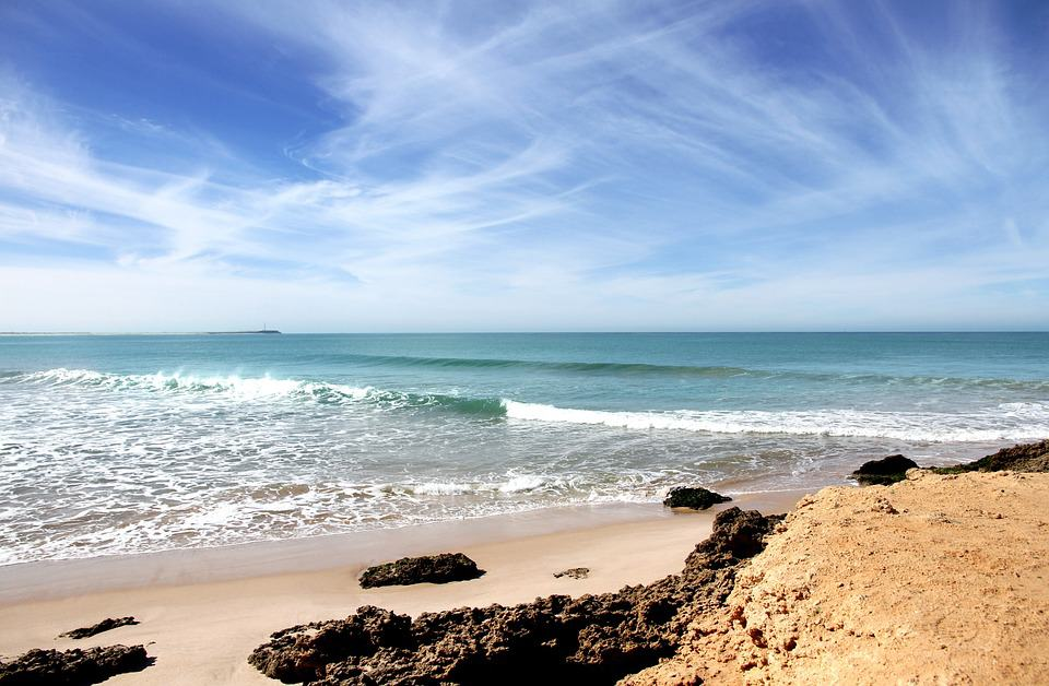 A view of the Atlantic Ocean from a beach in Morocco