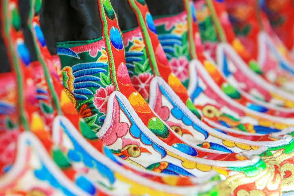 Close-up of a traditional Bhutanese boots in downtown Thimphu, Bhutan.