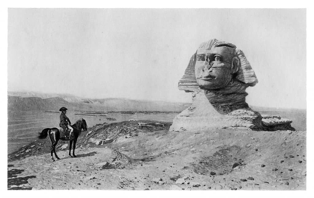 Napoleon Bonaparte at the Great Sphinx of Giza - Scanned 1894 Engraving