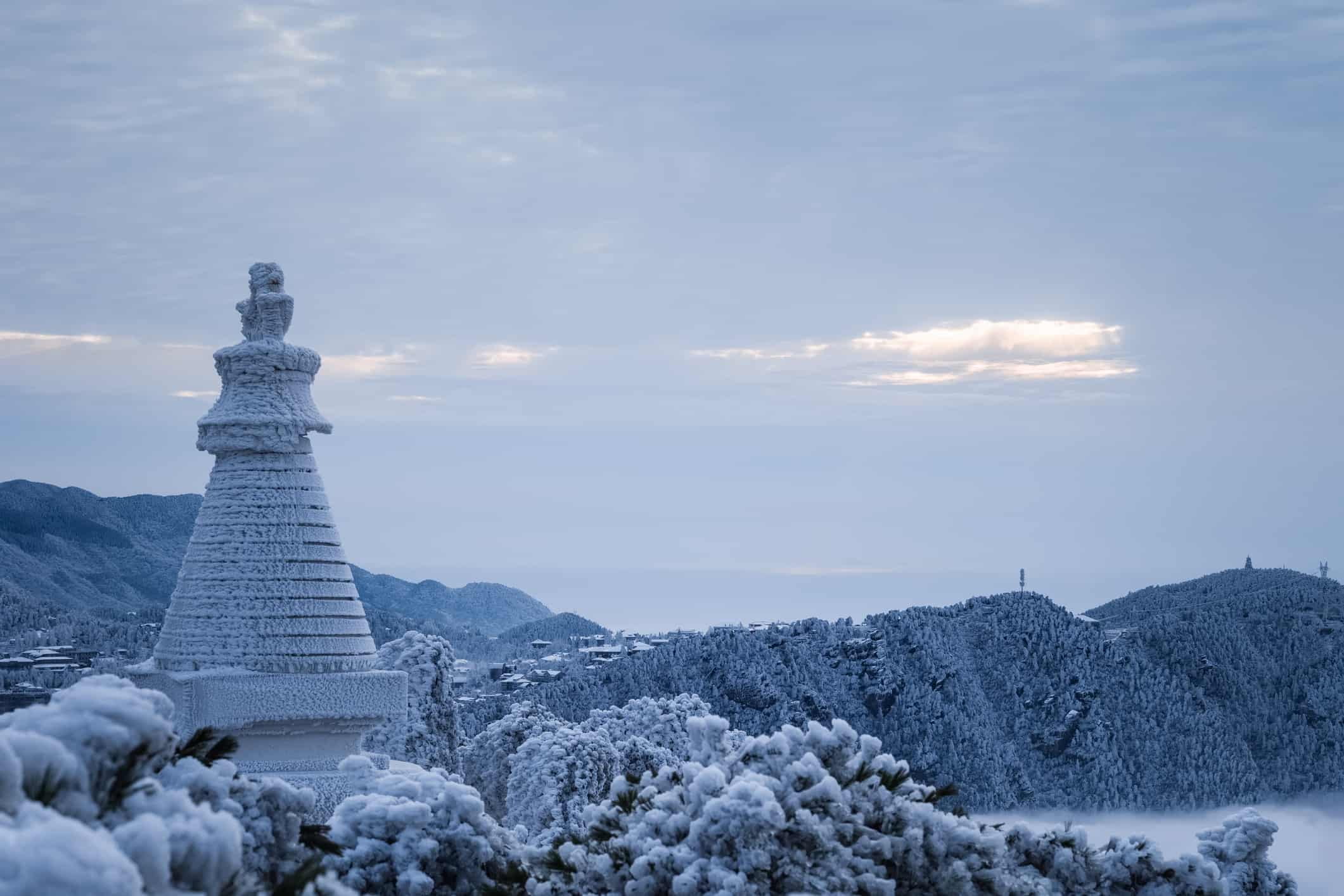 winter landscape in mount lushan, white pagoda is covered with frost