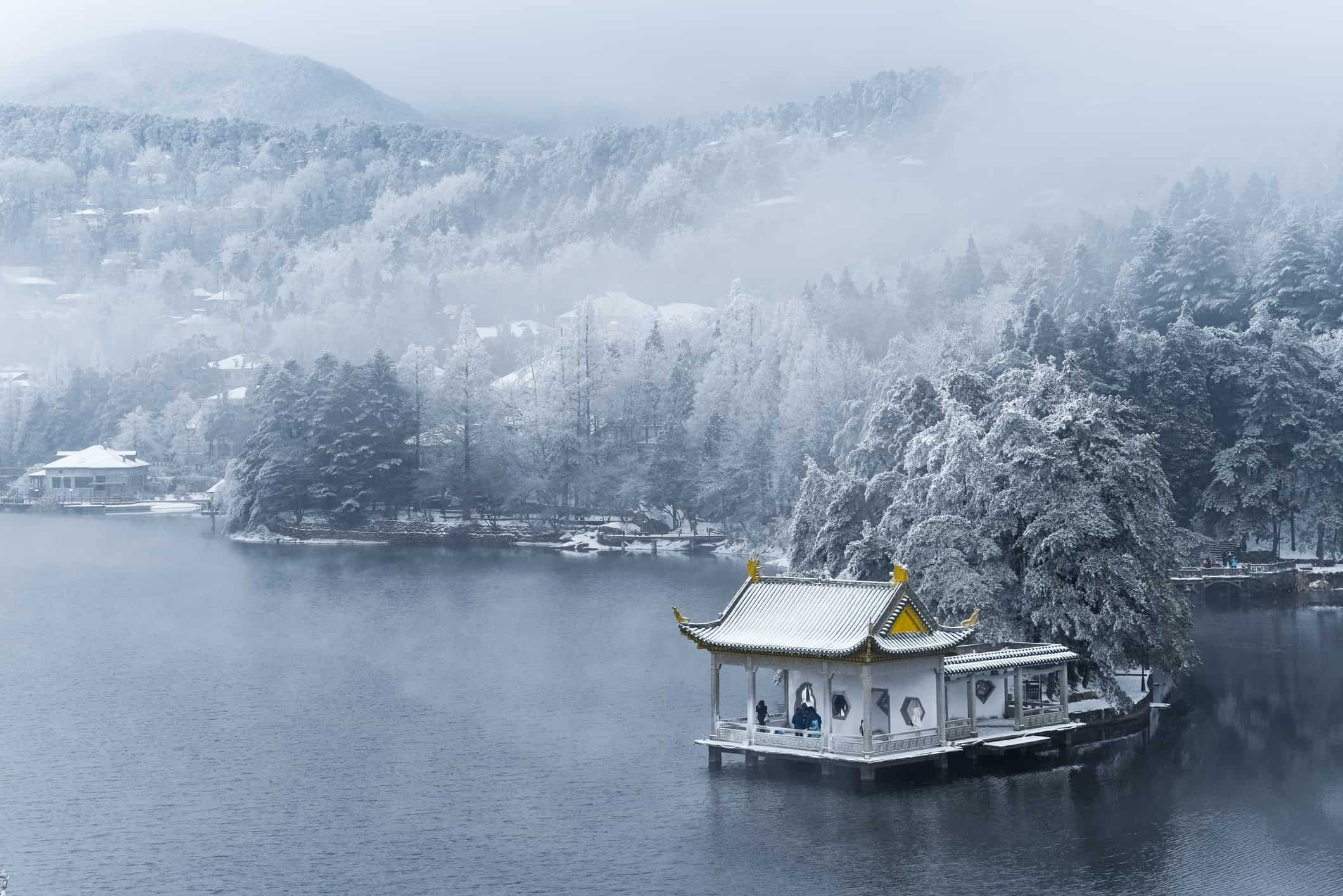 beautiful winter landscape on lushan mountain, a famous tourist destination in China