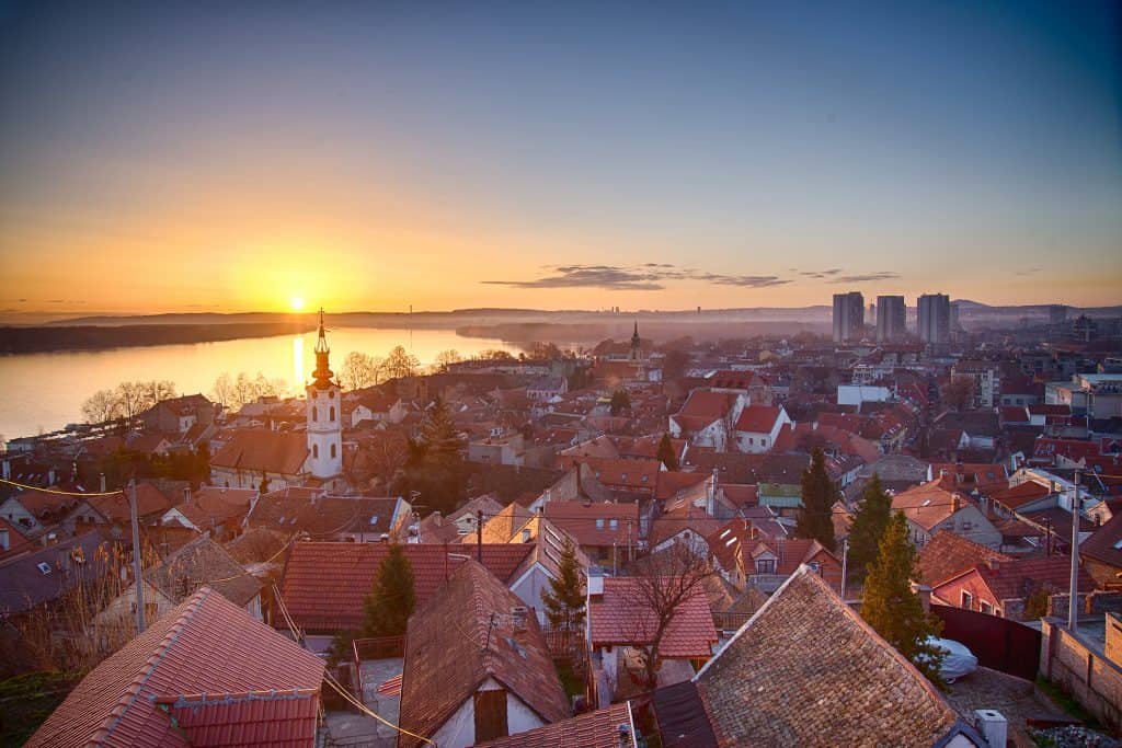 Dawn in Belgrade Serbia..