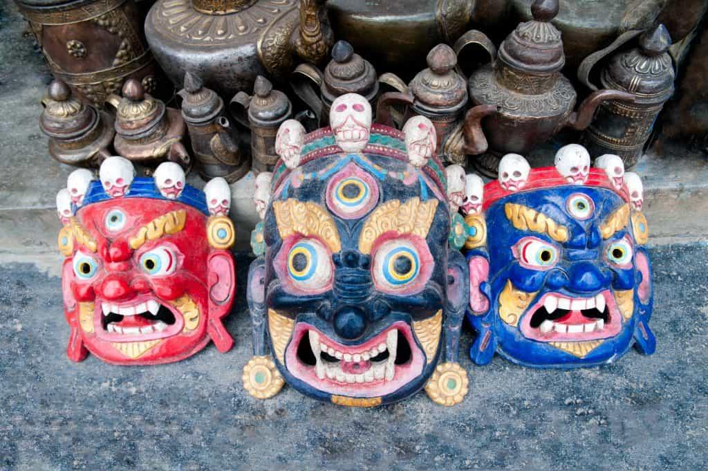 Traditional Buddhist festival masks at a shop window in Kathmandu Nepal