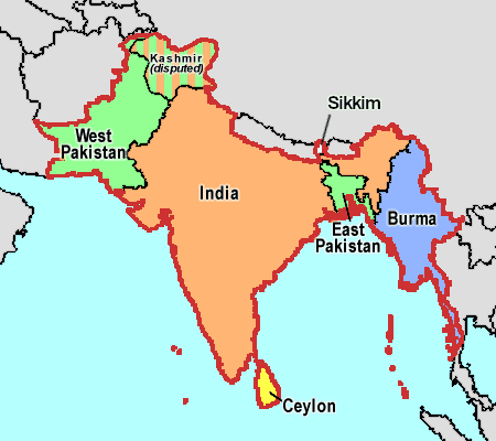 Map showing West and East Pakistan