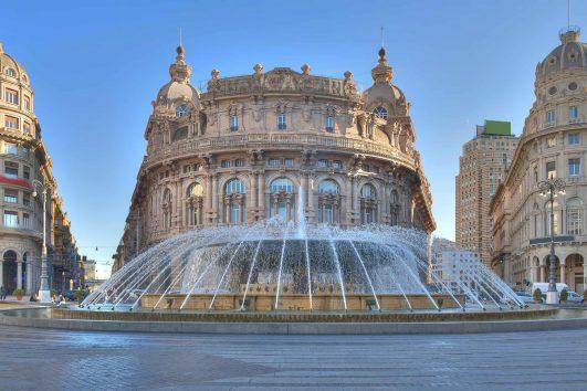 View of Piazza de Ferrari, main square of Genoa, Italy