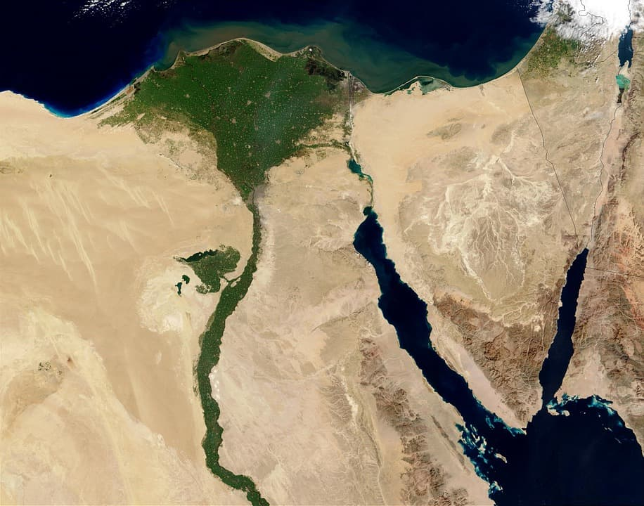 An aerial view of the Nile River in Egypt